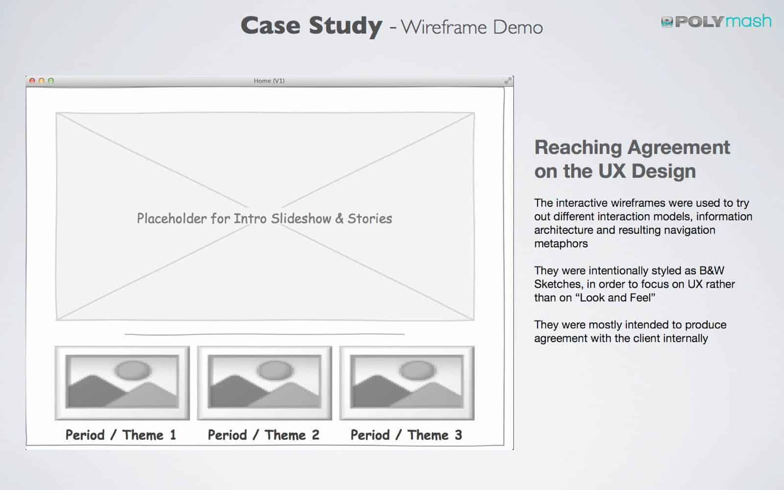 UX Case Study: We used rough wireframes to communicate, test and eventually agree on navigation metaphors